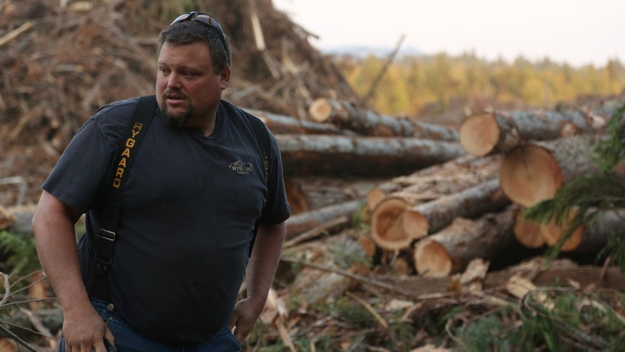 "Gabe Rygaard in a still from the History Channels' ""Ax Men."""