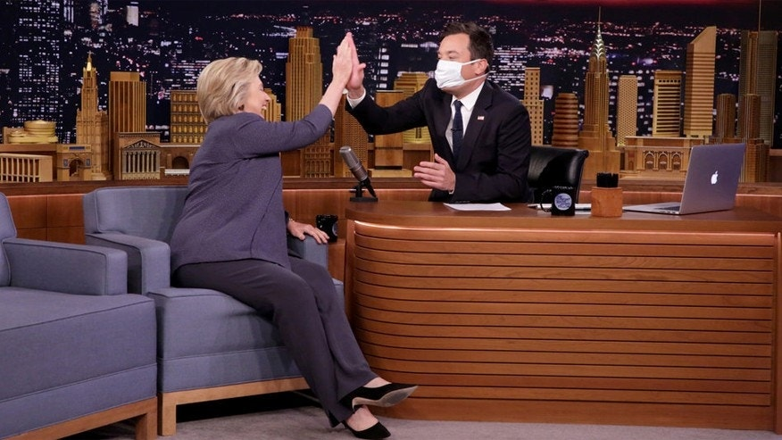 Pictured: (l-r) Democratic Presidential Candidate Hillary Clinton during an interview with host Jimmy Fallon on September 19, 2016.