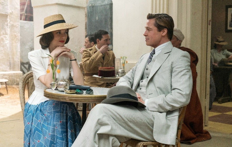 """This image released by Paramount Pictures shows Marion Cotillard, left, and Brad Pitt in a scene from, """"Allied,"""" in theaters on November 23. (Daniel Smith/Paramount Pictures via AP)"""