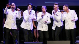 FILE - In this May 19, 2016 file photo, A.J. McLean, from left, Kevin Richardson, Brian Littrell, Nick Carter and Howie Dorough of the Backstreet Boys perform at the 12th Annual MusiCares MAP Fund Benefit Concert held at The Novo by Microsoft, in Los Angeles. Backstreet will be back - and back and back and back _ in Las Vegas. The pop group Backstreet Boys confirmed reports Friday, Sept. 23, 2016, they will begin a Planet Hollywood residency next year. (Photo by John Salangsang/Invision/AP, File)