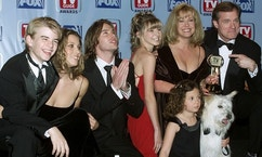 "Cast members of the drama series ""7th Heaven"" pose with the TV Guide Award the series won as Editors' Award for Best Show You're Not Watching at the first annual TV Guide Awards February 1 on the Fox Studio lot in Los Angeles. Shown (L-R) are David Gallagher, Jessica Biel, Barry Watson, Beverly Mitchell, Mackenzie Rosman (seated with dog Happy ), Catherine Hicks and Stephen Collins. The awards were determined by readers of TV Guide magazine who voted for their favorite television shows and stars.
