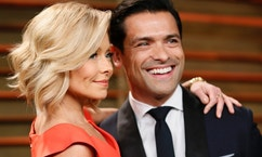 Television personality Kelly Ripa and her husband Mark Consuelos arrive at the 2014 Vanity Fair Oscars Party in West Hollywood, California March 2, 2014.