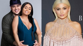 """Rob Kardashian and Blac Chyna (left) post for a publicity shot for their reality show """"Rob & Chyna."""" Kylie Jenner attends Harper's Bazaar's celebration of 'ICONS By Carine Roitfeld' at The Plaza Hotel during New York Fashion Week in Manhattan, New York, U.S., September 9, 2016."""
