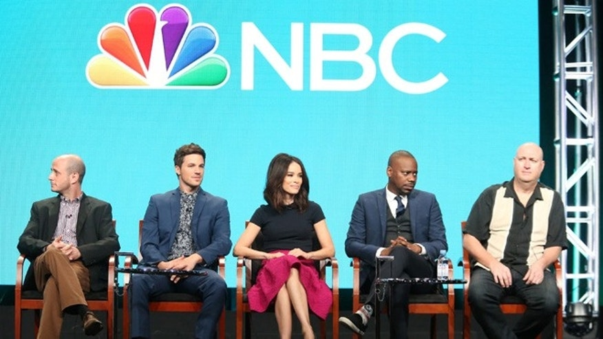 BEVERLY HILLS, CA - AUGUST 02:  (L-R) Executive producer Eric Kripke, actors Matt Lanter, Abigail Spencer, Malcolm Barrett and executive producer Shawn Ryan speak onstage at the 'Timeless' panel discussion during the NBCUniversal portion of the 2016 Television Critics Association Summer Tour at The Beverly Hilton Hotel on August 2, 2016 in Beverly Hills, California.  (Photo by Frederick M. Brown/Getty Images)