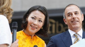 """""""Today"""" show hosts Ann Curry and Matt Lauer appear on set during the show in New York June 22, 2012. NBC executives are in talks with Curry about moving her to one of the network's news programs, only a year after she succeeded Meredith Viera at the morning show.  REUTERS/Brendan McDermid (UNITED STATES - Tags: ENTERTAINMENT PROFILE) - RTR340H6"""