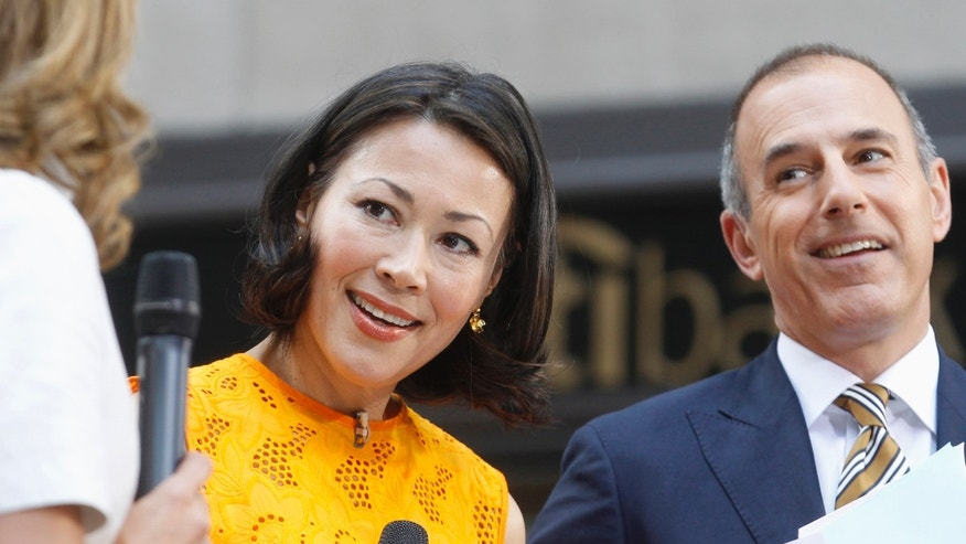 "Former ""Today"" host Ann Curry and current ""Today"" host Matt Lauer appear on set during the show in New York June 22, 2012"