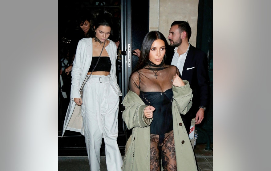 Kris Jenner, Kendall Jenner and Kim Kardashian leaving the Kinu restaurant in Paris on Satuday night before Kim was held at gunpoint during a $10m robbery. October 1, 2016 X17online.com USA ONLY