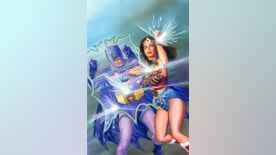 "This image provided by DC Entertainment shows Batman and Wonder Woman. The colorful 1960s version of the Caped Crusader will team up with the groovy 1970s rendition of Wonder Woman in a new comic book series. DC Comics announced Friday, Oct. 7, 2016,  at New York Comic Con that ""'Batman '66 Meets Wonder Woman '77"" will unite the characters from the ""Batman"" TV show staring Adam West and Burt Ward with the ""Wonder Woman"" TV series featuring Lynda Carter. (DC Entertainment via AP)"