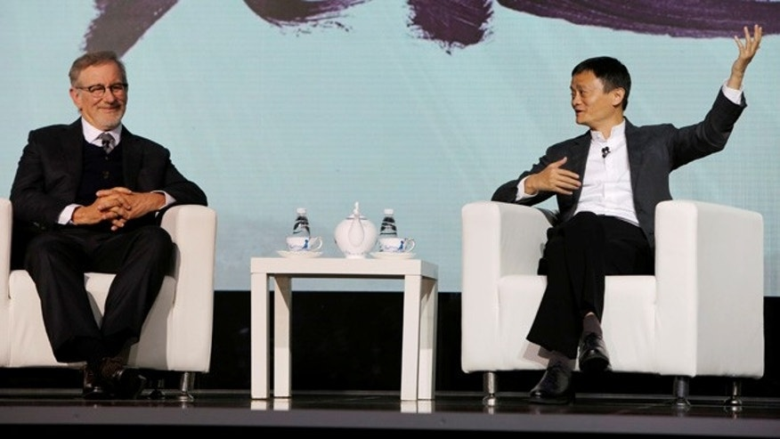 October 9, 2016. Director and Chairman of Amblin Partners Steven Spielberg and Jack Ma, Chairman of Alibaba Group announced a partnership in Beijing.