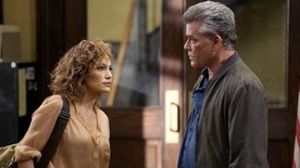 "SHADES OF BLUE -- ""Original Sin""  Episode 102 --  Pictured: (l-r) Jennifer Lopez as Detective Harlee Santos, Ray Liotta as Bill Wozniak -- (Photo by: Peter Kramer/NBC)"