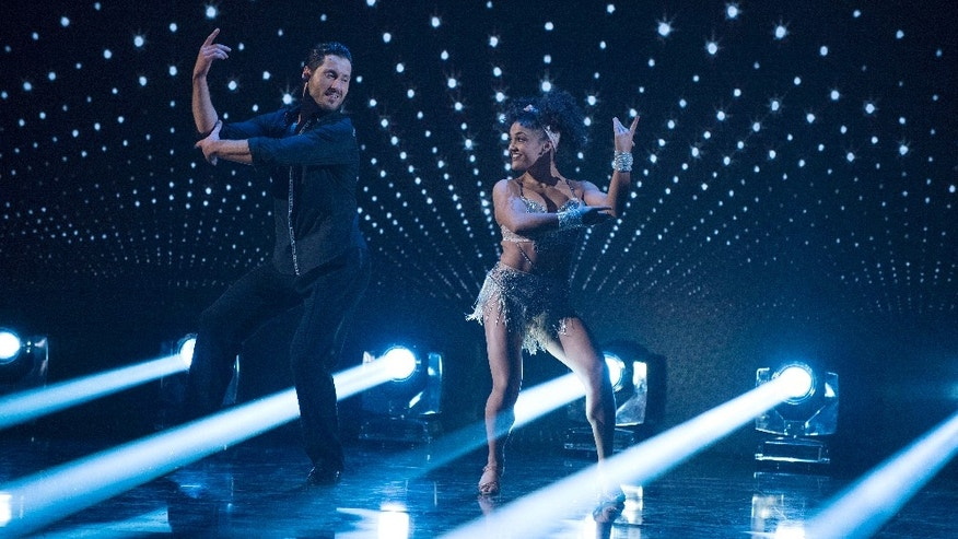 "DANCING WITH THE STARS - ""Episode 2306"" - The nine remaining celebrities ready themselves for one of the hottest nights in the ballroom - Latin Night - with each celebrity performing either a rumba, salsa, samba, paso doblé, cha cha or Argentine tango, on ""Dancing with the Stars,"" live, MONDAY, OCTOBER 17 (8:00-10:01 p.m. EDT), on the ABC Television Network. (ABC/Eric McCandless)VALENTIN CHMERKOVSKIY, LAURIE HERNANDEZ"