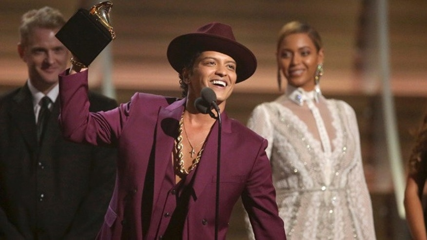 Bruno Mars at the Grammy Awards on Feb. 15, 2016.