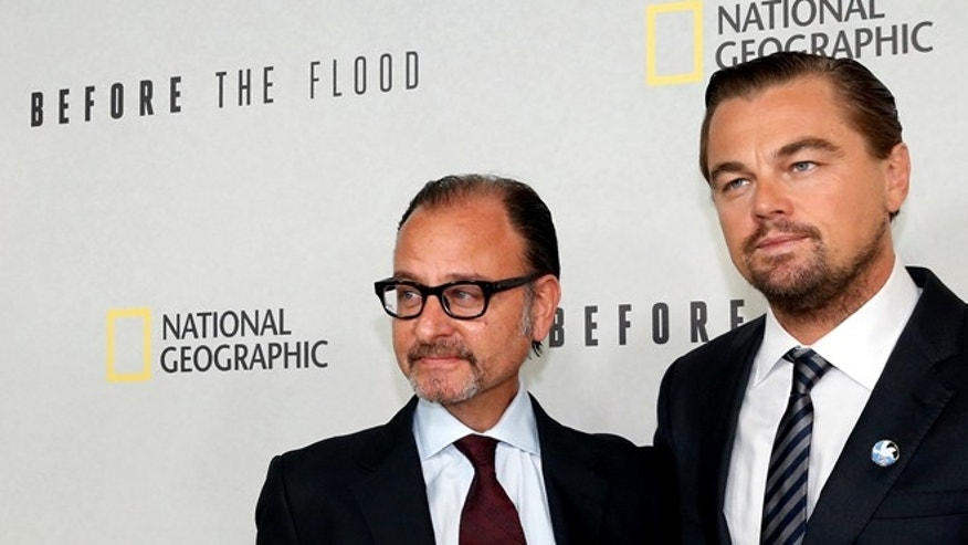 "Leonardo DiCaprio and director Fisher Stevens before a screening of the documentary of ""Before the Flood."""