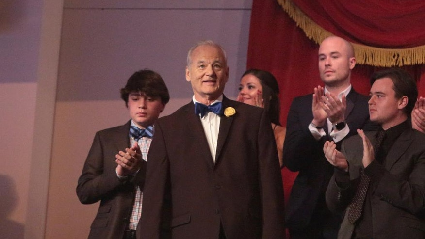 Bill Murray is honored with the Mark Twain Prize for American Humor at the Kennedy Center for the Performing Arts on Sunday, Oct. 23, 2016, in Washington. (Photo by Owen Sweeney/Invision/AP)