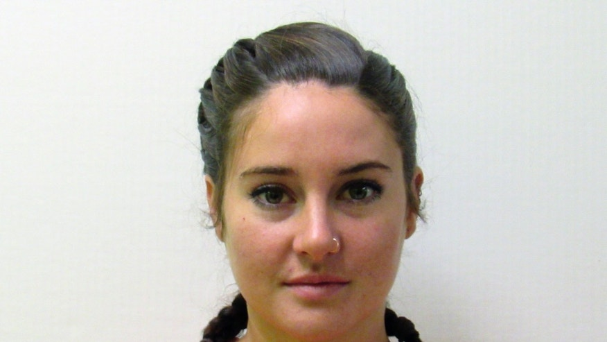 This October 2016 photo provided by the Morton County Sheriff's Department in Mandan, N.D., shows actress Shailene Woodley who was arrested Monday, Oct. 10, 2016, during a protest against the Dakota Access pipeline.