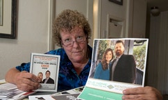 "In this Monday, Sept. 19, 2016, photo, Susan Martin displays some of the literature she has on how to flip homes, in her Chico, Calif., home. Martin attended a seminar sponsored by Zurixx LLC, a Utah-based education company, expecting to see reality TV stars Andy and Candis Meredith of ""Old Home Love,"" a show that aired on HGTV and its sister channel the DIY Network. Martin and others say they attend the events to learn about flipping homes from reality stars like the Meredith's or Tarek and Christina El Moussa, of HGTV's ""Flip or Flop,"" only to find that the stars don't appear and they are asked to spend thousands of dollars to attend more classes. (AP Photo/Rich Pedroncelli)"