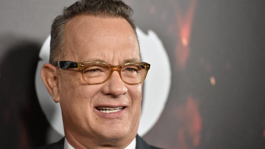 "Tom Hanks arrives at a special screening of ""Inferno"" at the Directors Guild of America Theatre on Tuesday, Oct. 25, 2016, in Los Angeles."