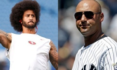 Colin Kaepernick (left) and Derek Jeter.
