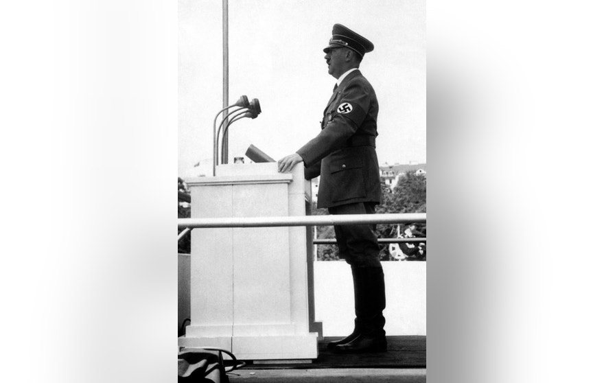 Adolf Hitler, as Germany Chancellor, makes a speech in Kassel, Germany in 1935.
