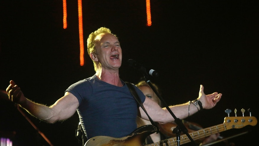 FILE - In this March 5, 2016 file photo, musician Sting performs during a concert at the Java Jazz Festival in Jakarta, Indonesia. Sting is to perform on Nov. 12 at the first concert at the Bataclan theater in Paris since it was targeted in Islamic State attacks a year ago that killed 130 people. (AP Photo/Tatan Syuflana, File)