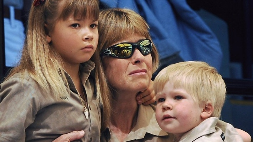 Steve Irwin's wife Terri and children Bindi and Robert at a memorial service for Irwin in 2006.