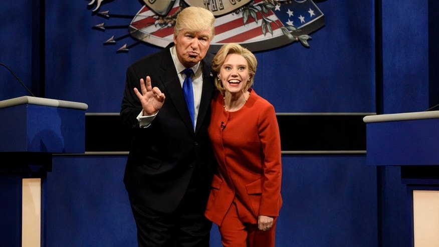 "Alec Baldwin as Donald Trump (left) and Kate McKinnon as Hillary Clinton on ""Saturday Night Live."""