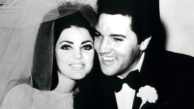 Elvis and Priscilla Presley are pictured after exchanging nuptials in the Aladdin Hotel-Casino in Las Vegas in this 1967 photo.