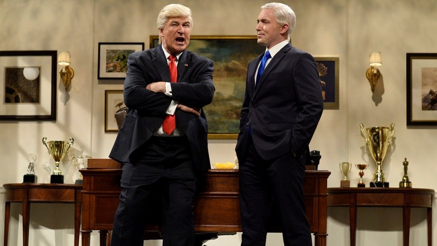 "Pictured: (l-r) Alec Baldwin as Donald Trump and Beck Bennett as Mike Pence during the ""Donald Trump Prepares Cold Open"" sketch on ""SNL"" November 19, 2016."