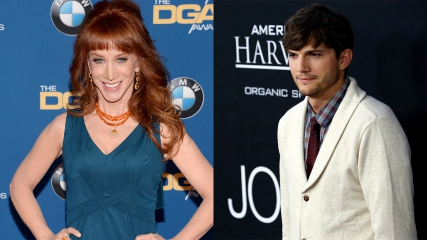 Kathy Griffin, left, and Ashton Kutcher.