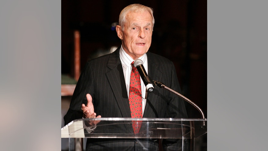 In this Thursday, Dec. 14, 2006, file photo, Grant Tinker, co-founder of MTM Enterprises and a former NBC chairman, speaks about producer and director James Burrows, who received an Academy of Television Arts & Sciences Hall of Fame award in Beverly Hills, Calif.