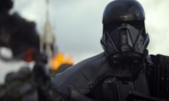 "This image released by Disney shows a scene from the upcoming film, ""Rogue One: A Star Wars Story."" The world got a glimpse of ""Rogue One: A Star Wars Story"" in teaser trailer that debuted Thursday, April 7, 2016 on Good Morning America that introduces the rag tag rebels who unite to steal the plans for the Death Star, including ""The Theory of Everything's"" Felicity Jones. The film directed by Gareth Edwards also stars Diego Luna, Forest Whitaker and Ben Mendelsohn. (Disney via AP)"