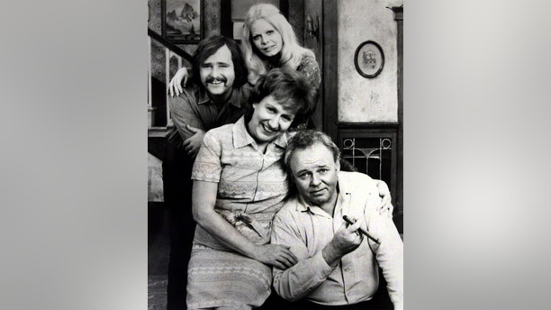 Rob Reiner as Michael, Archie's son-in-law; Sally Struthers as Gloria, Archie's daughter; and Jean Stapleton as Edith, Archie's wife.