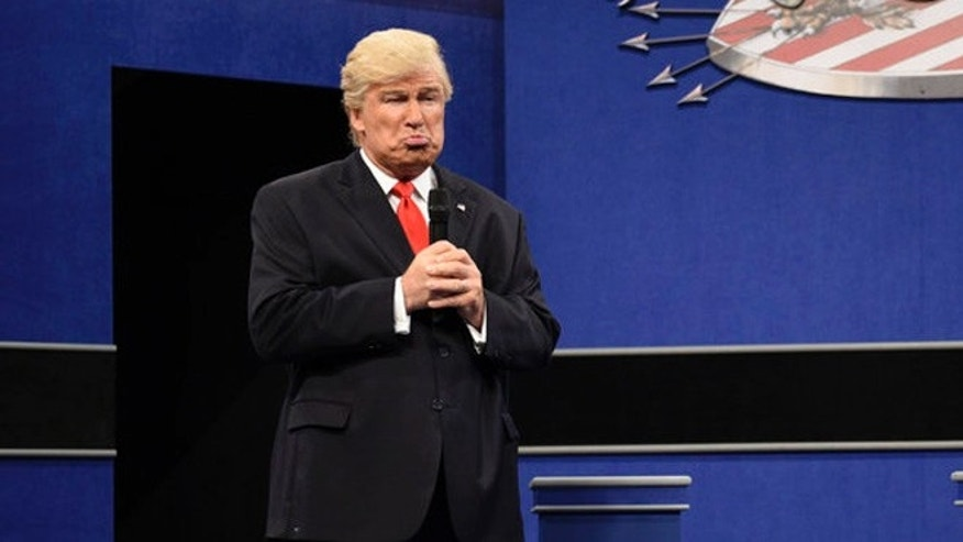 "Alec Baldwin as Republican Presidential Candidate Donald Trump during the ""Debate Cold Open"" sketch on October 15, 2016"