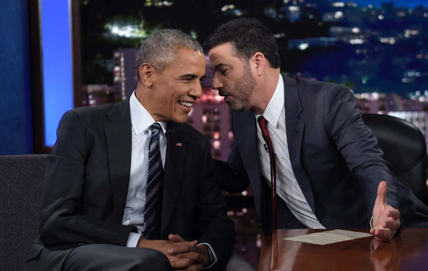 "FILE - In this Oct. 24, 2016 file photo, President Barack Obama talks with Jimmy Kimmel in between taping segments of Jimmy Kimmel Live! at the El Capitan Entertainment Center in Los Angeles. From his campaign fist bump to his theatrical mic drop at the last White House correspondents' dinner, Barack Obama ruled as America's pop culture president. His two terms played out like a running chronicle of the trends of our times: slow-jamming the news with Jimmy Fallon, reading mean tweets with Jimmy Kimmel, filling out his NCAA basketball bracket on ESPN, cruising with Jerry Seinfeld on ""Comedians in Cars Getting Coffee."" (AP Photo/Susan Walsh, File)"