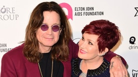 Singer Ozzy Osbourne and his wife Sharon arrive at the 2015 Elton John AIDS Foundation Oscar Party in West Hollywood, California February 22, 2015. REUTERS/Gus Ruelas (UNITED STATES TAGS: ENTERTAINMENT) (OSCARS-PARTIES) - RTR4QOIM