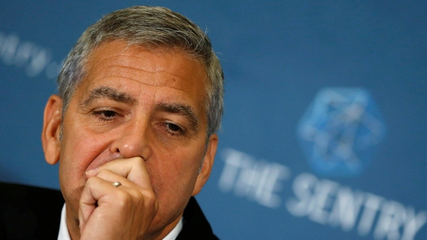 Actor and The Sentry co-founder George Clooney appears on a panel with The Sentry investigators to discuss their work investigating the ongoing humanitarian crisis in South Sudan during a news conference at the National Press Club in Washington, U.S. September 12, 2016.