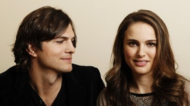 """FILE - In this Jan. 7, 2011, file photo, actor Ashton Kutcher, left, and actress Natalie Portman, from the film """"No Strings Attached"""" pose for a portrait in Beverly Hills, Calif. Portman tells Marie Claire magazine in an interview published Jan. 11, 2017, that Kutcher was paid three times as much as her for co-starring in the 2011 film. (AP Photo/Matt Sayles, File)"""