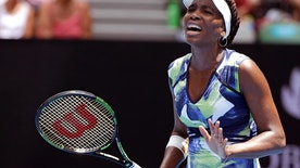Venus Williams of the United States reacts to a lost point against Johanna Konta of Britain during their first round match at the Australian Open tennis championships in Melbourne, Australia, Tuesday, Jan. 19, 2016.(AP Photo/Aaron Favila)