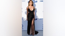 Model Chrissy Teigen poses during the Comedy Central Roast of Justin Bieber at Sony Studios in Culver City, California March 14, 2015.