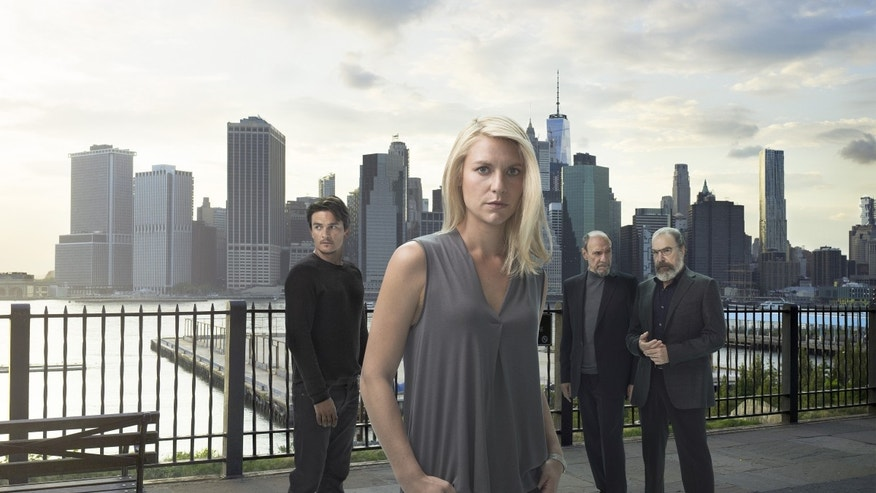 Rupert Friend as Peter Quinn, Claire Danes as Carrie Mathison, F. Murray Abraham as Dar Adal and Mandy Patinkin as Saul Berenson in Homeland (Season 6)