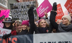 "Actresses Chelsea Handler and Charlize Theron, right, participate in the ""Women's March On Main"" during the 2017 Sundance Film Festival on Saturday, Jan. 21, 2017, in Park City, Utah. (Photo by Arthur Mola/Invision/AP)"