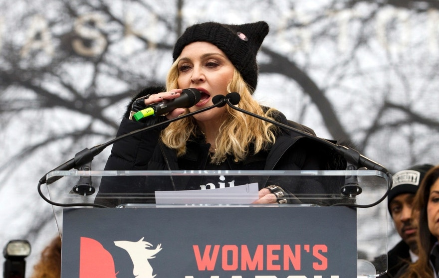 Madonna speaks during the Women's March on Washington, Saturday, Jan. 21, 2017, in Washington. (AP Photo/Jose Luis Magana)