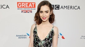 Actor Lily Collins poses at the BAFTA Los Angeles Awards Season Tea Party in Los Angeles, California, January 7, 2017. REUTERS/Danny Moloshok - RTX2XX1S