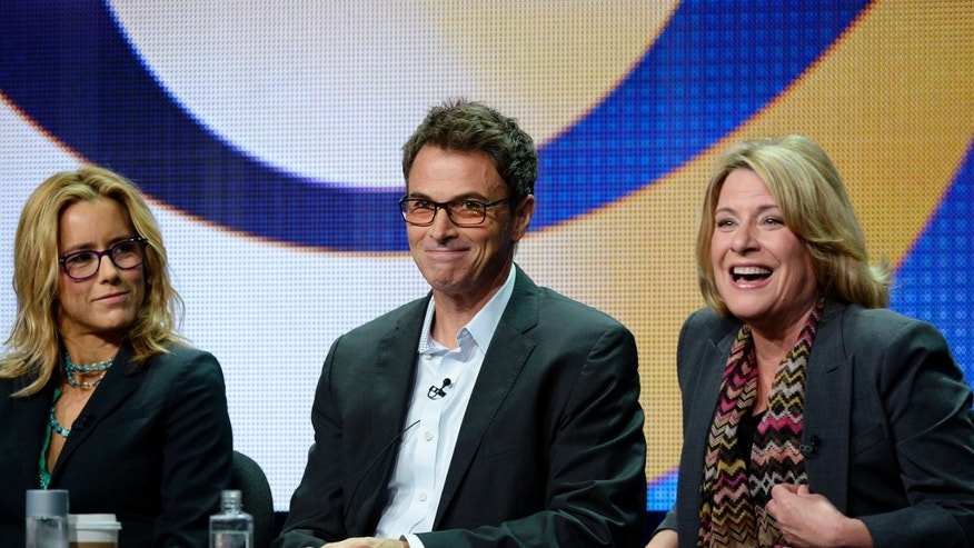 "(L-R) Cast members Tea Leoni and Tim Daly, and executive producer/creator Barbara Hall from the new drama series ""Madam Secretary"" participate in a panel during CBS network's portion of the 2014 Television Critics Association Cable Summer Press Tour in Beverly Hills, California July 17, 2014."