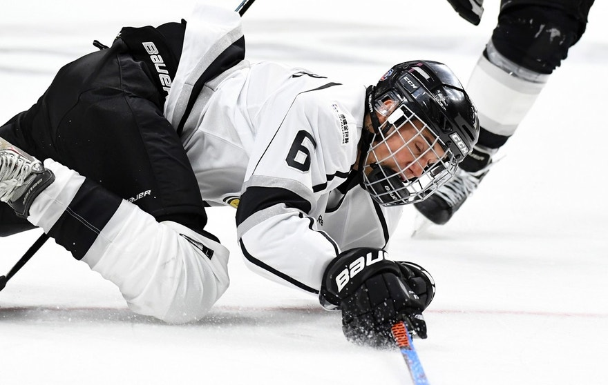 Singer Justin Bieber takes a fall during the first period of the NHL All-Star Celebrity Shootout on Saturday, Jan. 28, 2017, in Los Angeles. The NHL All-Star Game is scheduled to be played Sunday. (AP Photo/Mark J. Terrill)