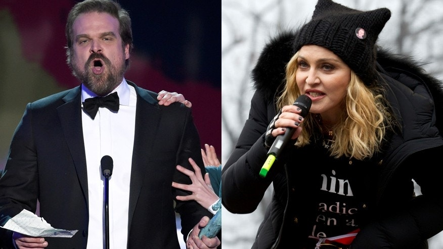 David Harbour, left, and Madonna have both made headlines for speaking out against President Trump.