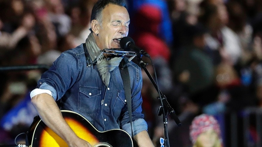 In this Nov. 7, 2016, file photo Bruce Springsteen performs during a Hillary Clinton campaign event at Independence Mall in Philadelphia.