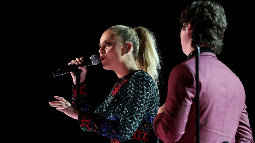 Lukas Graham and Kelsea Ballerini perform at the 59th Annual Grammy Awards in Los Angeles, California, U.S. , February 12, 2017.