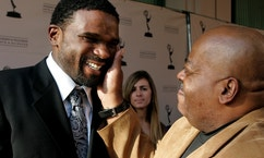 """Actors Darius McCrary (L) is greeted by Reginald VelJohnson,  his TV dad in """"Family Matters,"""" as they arrive for """"A Father's Day Salute to TV Dads"""" hosted by the Academy of Television Arts & Sciences in Los Angeles, California, June 18, 2009."""