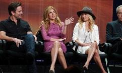 "Cast members (L-R) Charles Esten, Connie Britton, Hayden Panettiere and Powers Boothe, stars of the new drama series ""Nashville"" , speak during a panel discussion at the Disney-ABC Television Group portion of the Television Critics Association Summer press tour in Beverly Hills, California July 27, 2012."